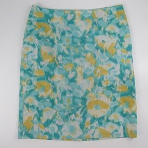 Talbots 8P Blue Yellow Floral Pencil Skirt